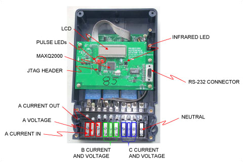 the board layout and connection terminals for the energy meter reference design