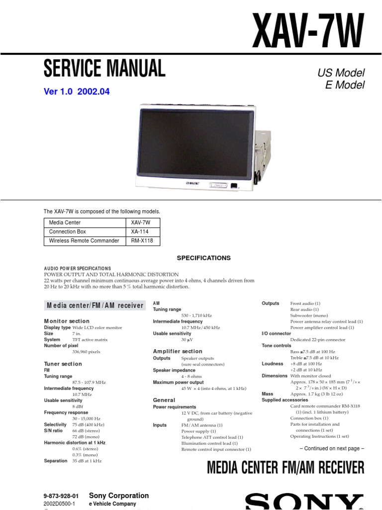sony xav 7w service manual and schematic loudspeaker electrical wiring