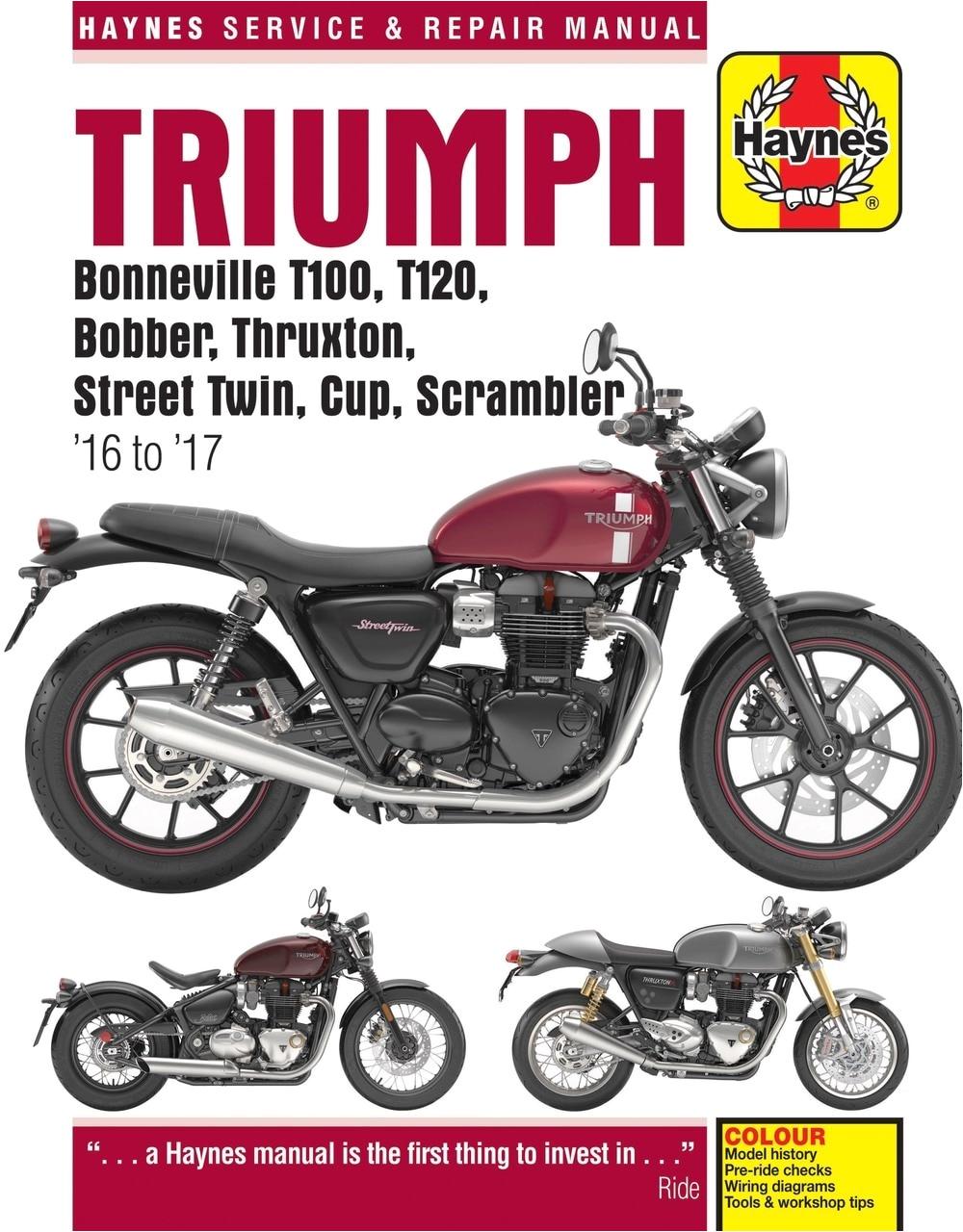 triumph bonneville t100 t120 bobber thruxton street twin cup scrambler 2016 2017 haynes repair manual