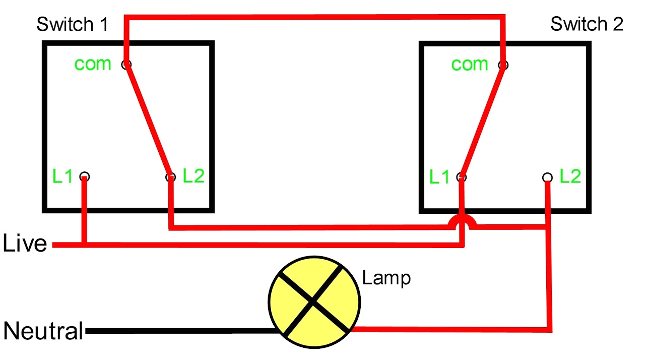 Two Way Lighting Circuit Wiring Diagram Two Way Light Switching Explained Youtube