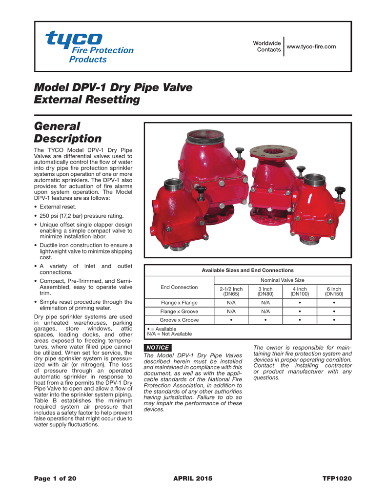 worldwide www tyco fire com contacts model dpv 1 dry pipe valve external resetting general description the tyco model dpv 1 dry pipe valves are differential