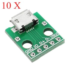 10pcs micro usb to dip female socket b type microphone 5p patch to dip with soldering