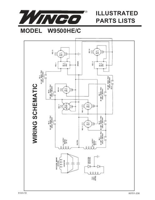 Winco Generator Wiring Diagram 60701 236 Parts List W9500he C Winco Generators