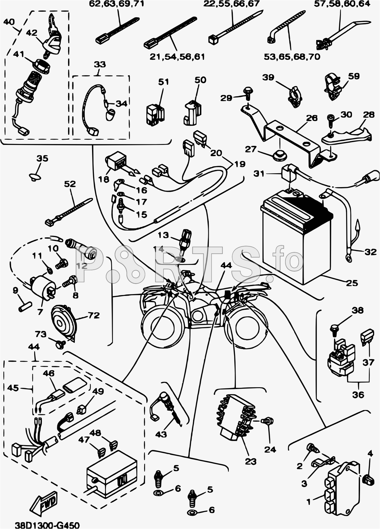 parts fo yamaha atv yfm350a grizzly 350 38d2 040 a 2009 yamaha 2009 350 grizzly wiring diagram