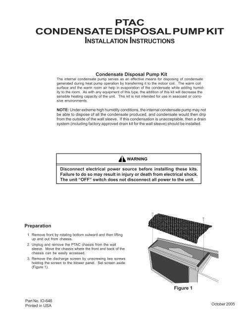 ptac condensate disposal pump kit installation amana ptac jpg