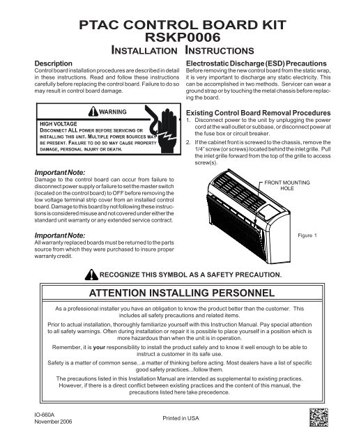 ptac control board kit rskp0006 installation instructions amana ptac jpg