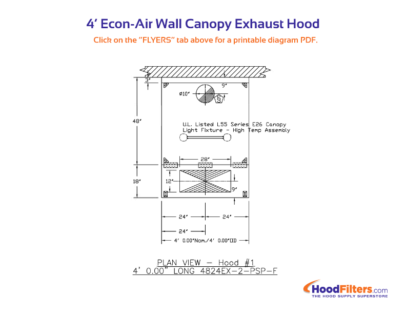 4 econ air wall canopy exhaust hood plan view png
