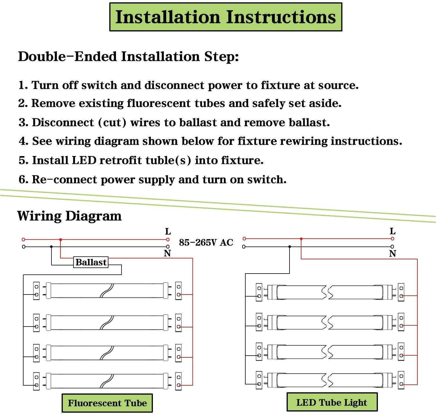 Parmida Led T8 Wiring Diagram T8 4ft Led Tube Light 6000k Cool White 28w 2800lm Clear Cover 4 Foot 48 T12 Led Bulbs Replacement for Garage Warehouse Shops Fluorescent Fixture