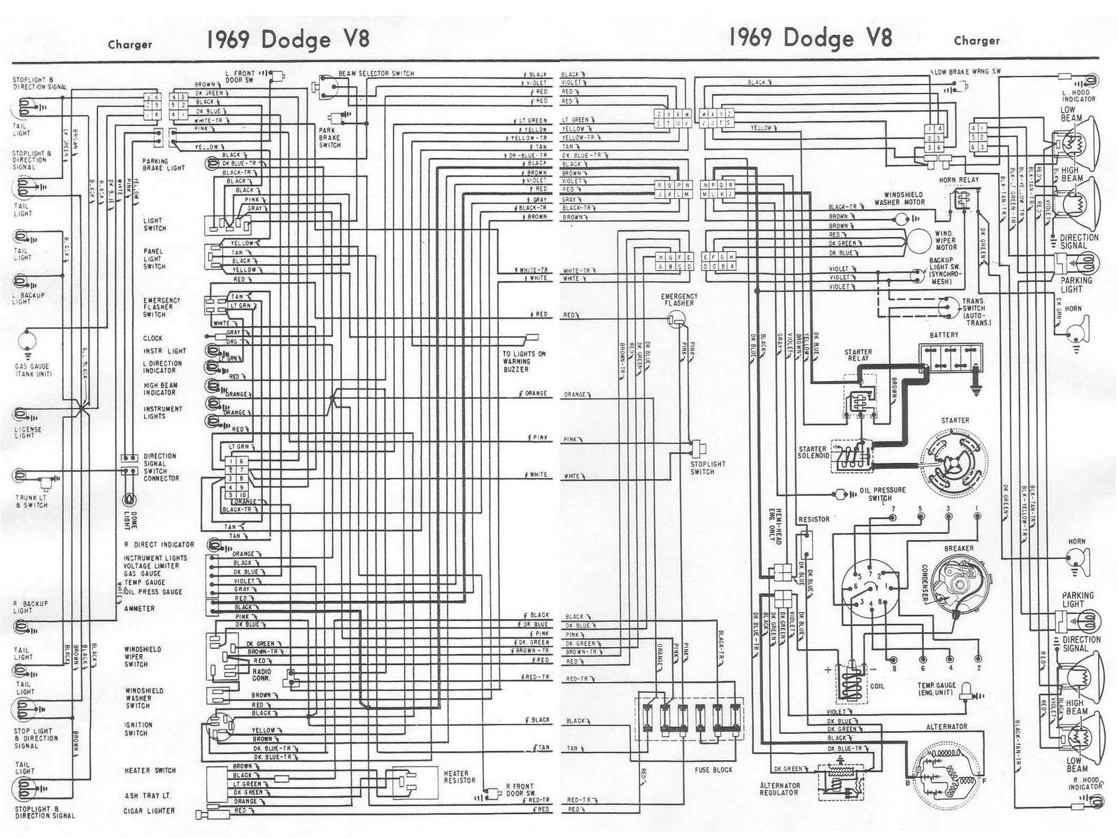 1969 dodge charger v8 complete wiring diagram jpg