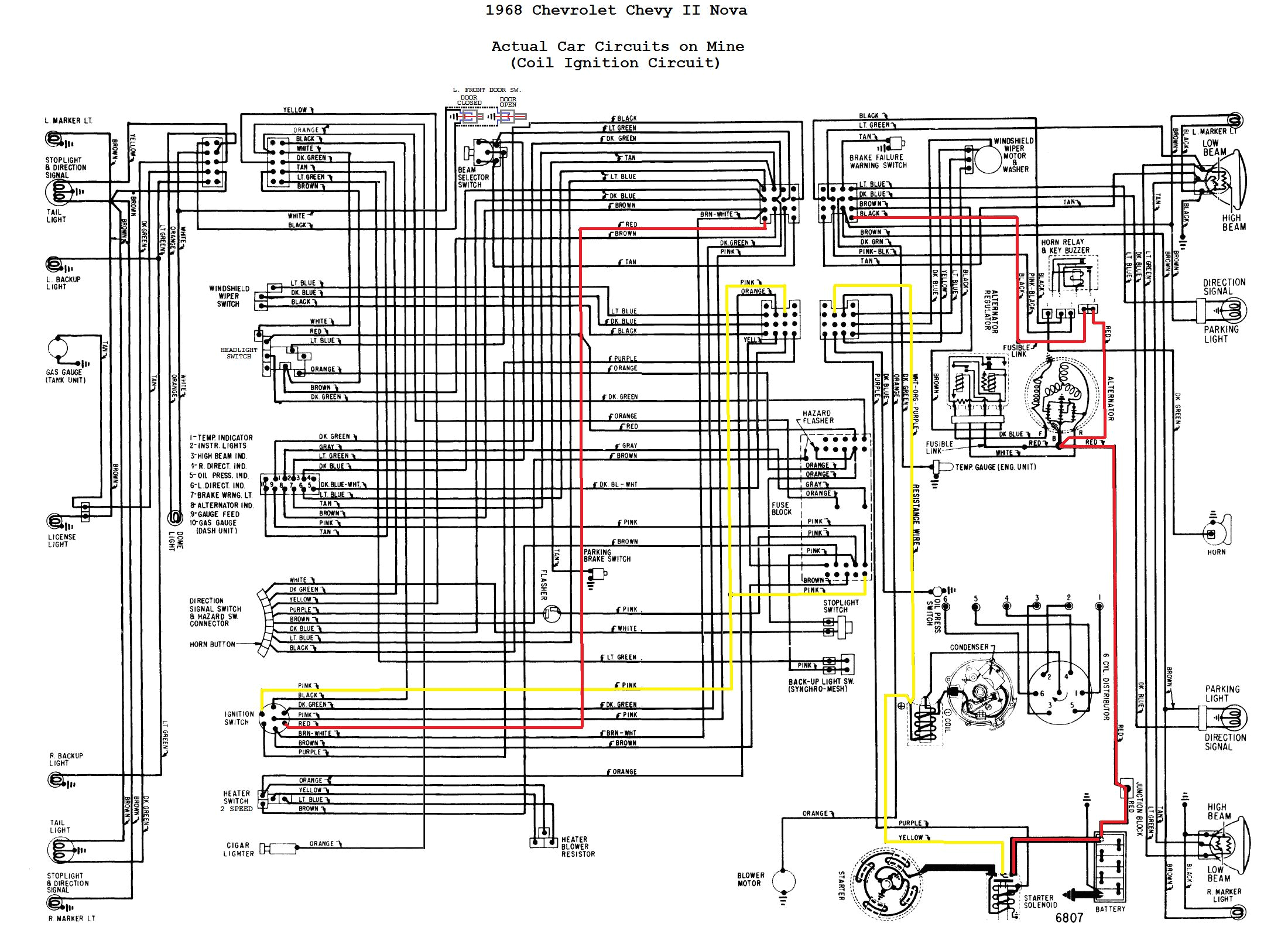1968 chevrolet nova wiring diagram each circuit highlighted 23 jpg