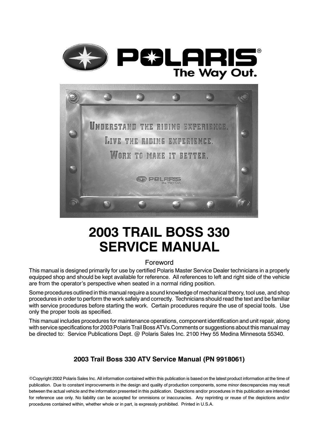 2003 Polaris Trail Boss 330 Wiring Diagram
