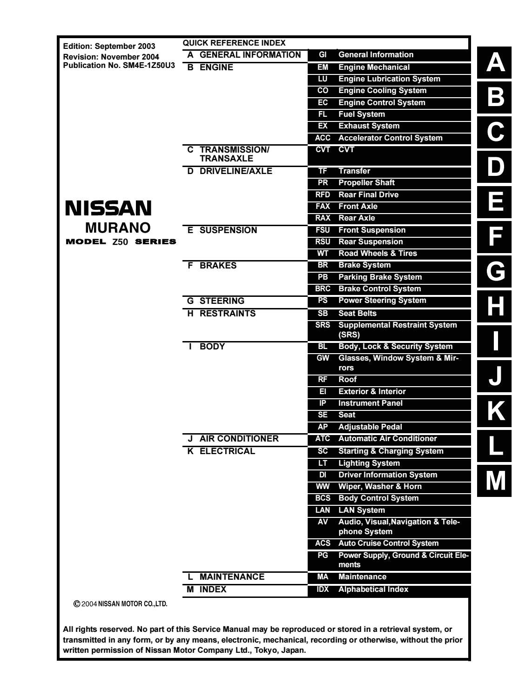 2004 Nissan Murano Alternator Wiring Diagram 2004 Nissan Murano Service Repair Manual by 163101 issuu
