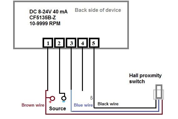 3 Wire Proximity Sensor Wiring Diagram Digital Led Rpm Speedometer Tachometer with Hall Senzor