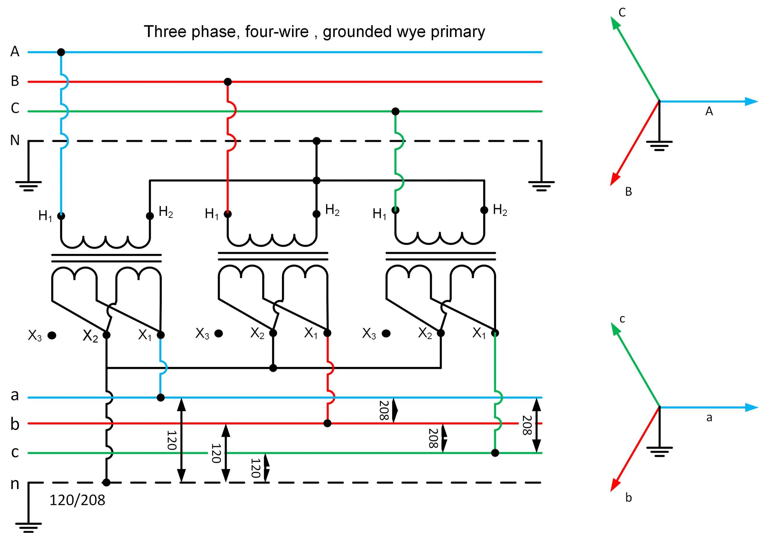 y star y star three phase transformer phasor diagram 1 gif