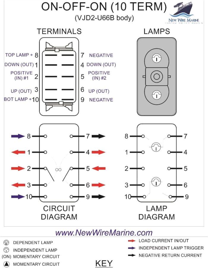 on off on backlit rocker switch carling vjd1 new wire marine jpg