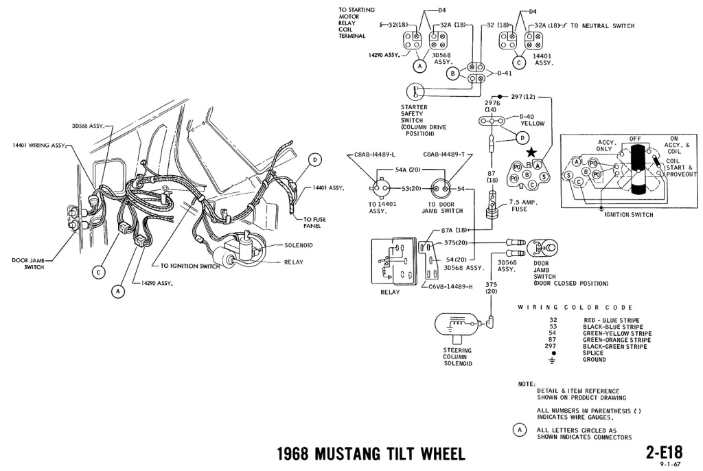 1968 mustang wiring diagram tilt wheel jpg