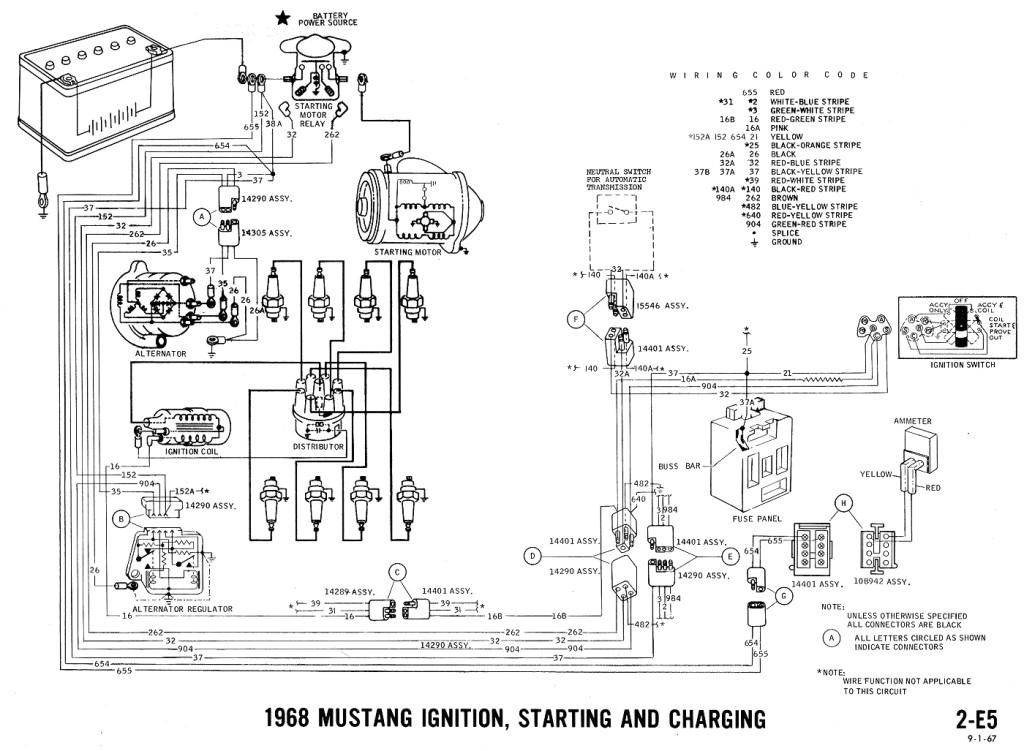1968 mustang wiring diagram ignition starting charging jpg
