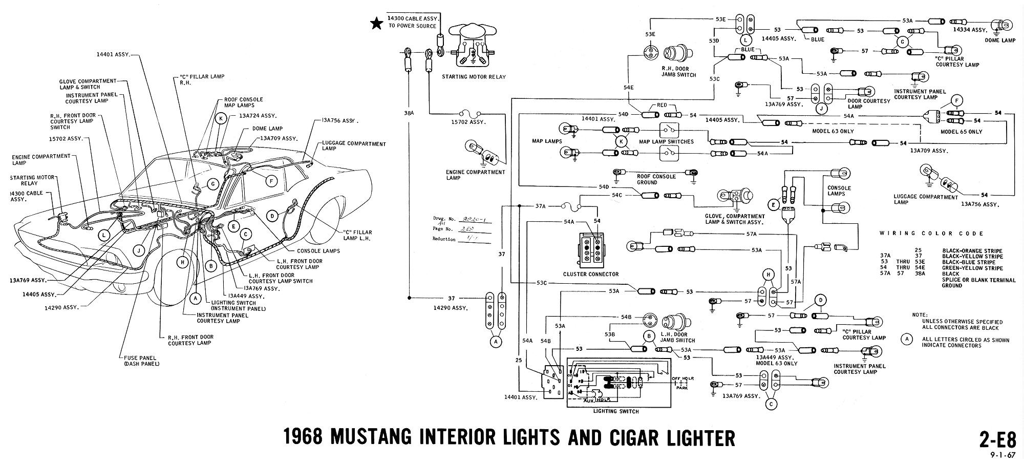 1968 mustang wiring diagram interior lights cigar lighter jpg