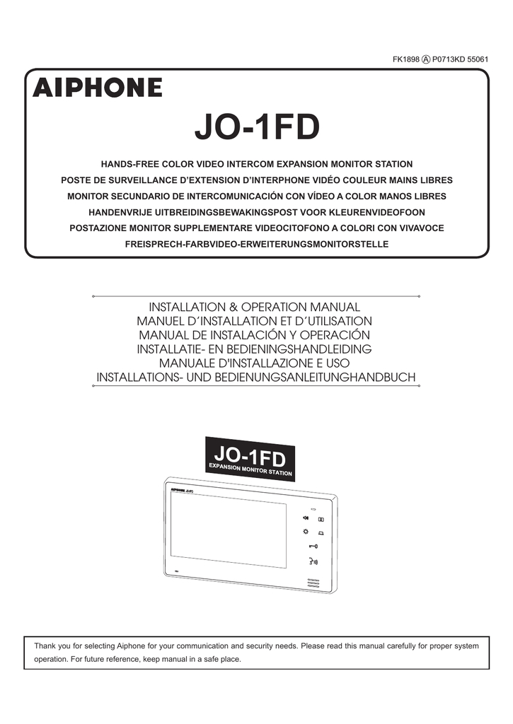 AiPhone Jo 1fd Wiring Diagram AiPhone Jo 1fd Expansion Station Manualzz