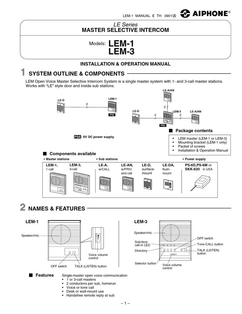 AiPhone Lem 1 Wiring Diagram Km 9100 AiPhone Wiring Diagram Schematic Wiring