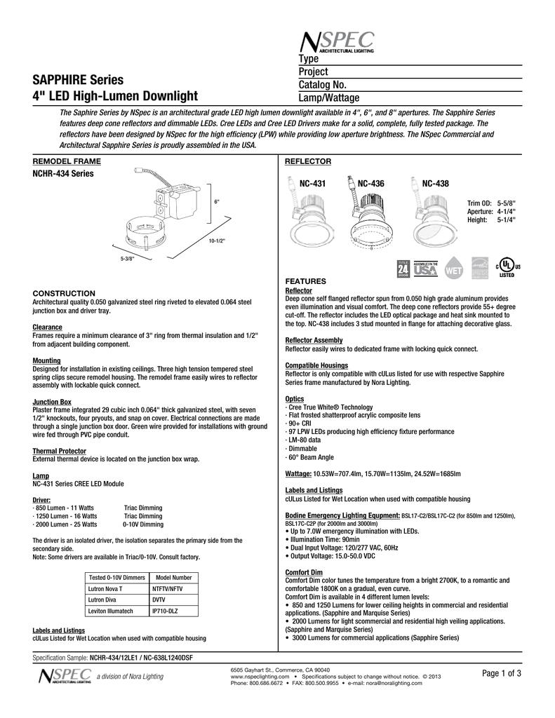 Bodine Bsl17c C2 Wiring Diagram Sapphire Series 4 Led High Lumen Downlight