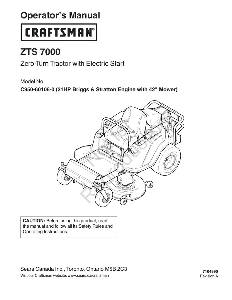 Craftsman Zt 7000 Wiring Diagram Craftsman Zts 7000 User Manual Manualzz