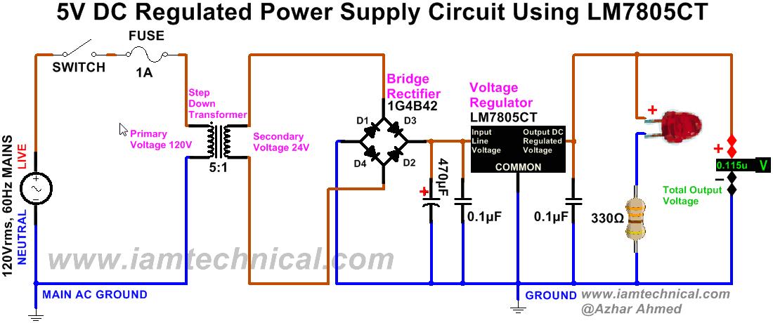 Dc Power Supply Wiring Diagram Regulated Dc Power Supply Circuit Using Bridge Rectifier