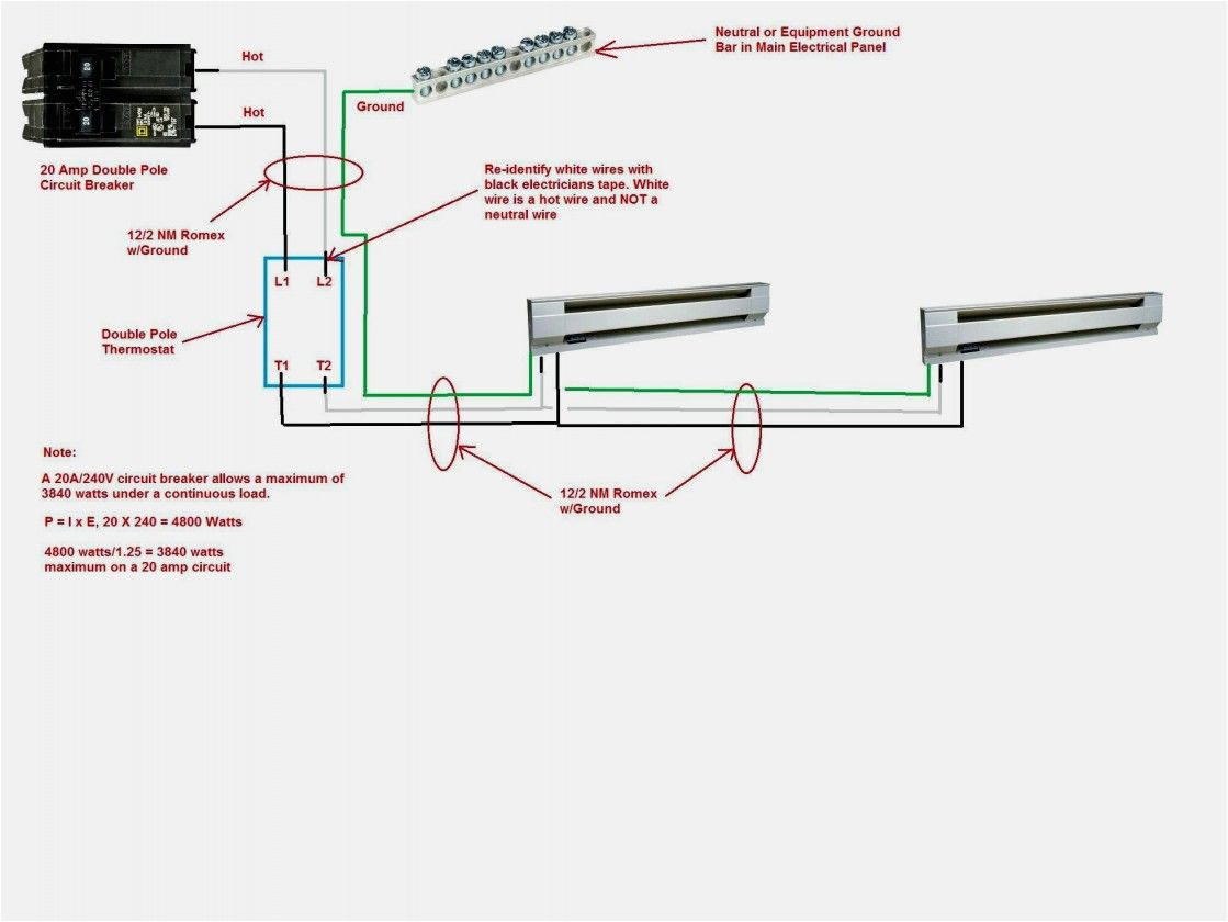 Electric Baseboard Heater thermostat Wiring Diagrams Wiring Diagram for 220 Volt Baseboard Heater with Images