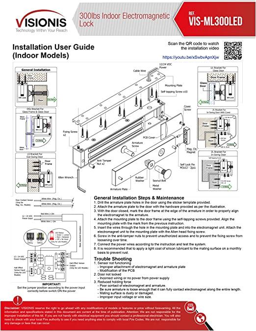 Electromagnetic Door Lock Wiring Diagram Visionis Fpc 5191 300 Lbs Indoor Electromagnetic Lock with 300 Lbs L and Z Bracket for Inswinging Door