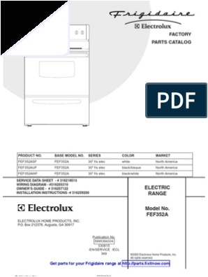 Frigidaire Wall Oven Wiring Diagram Frigidaire Range Model Fef352a Parts and Wiring Diagrams
