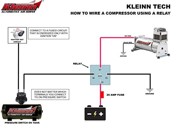 Horn Tech Train Horn Wiring Diagram Amazon Com Kleinn Air Horns 6852 Wiring Kit Automotive