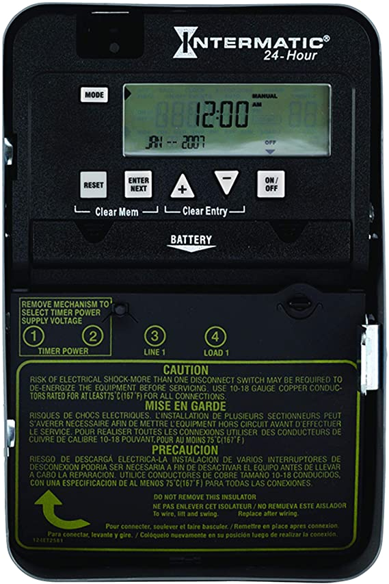 Intermatic Digital Timer Wiring Diagram Intermatic Et1105c Time Switch 1 Circuit 30 Amp Rating Gray