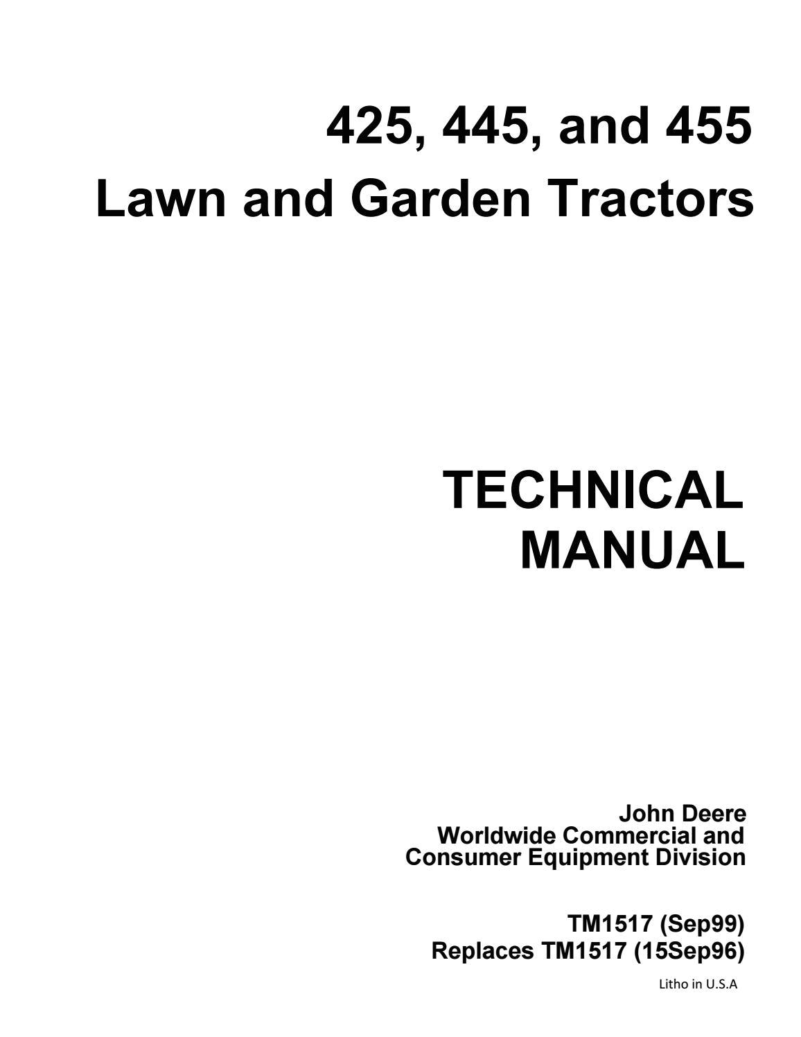 John Deere 455 Diesel Wiring Diagram John Deere 455 Lawn Garden Tractor Service Repair Manual by