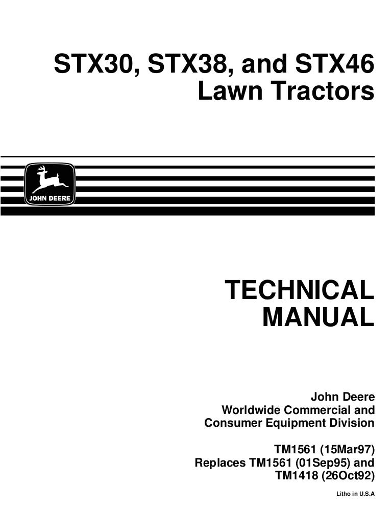 John Deere Stx38 Pto Switch Wiring Diagram John Deere Stx38 Lawn Garden Tractor Service Repair Manual