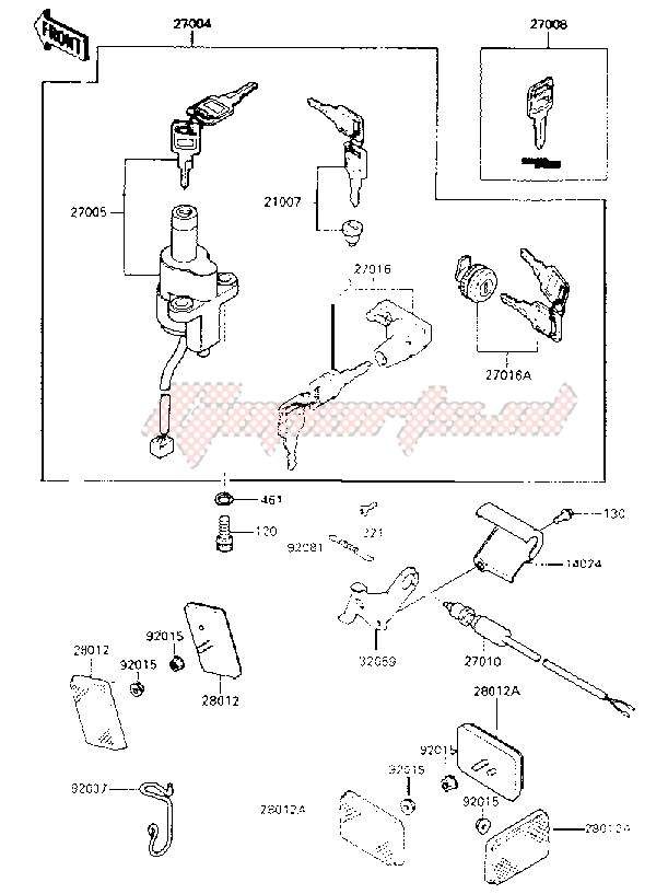 Kawasaki 454 Ltd Wiring Diagram Oem Ignition Switch Locks Reflectors Kawasaki Motorcycle