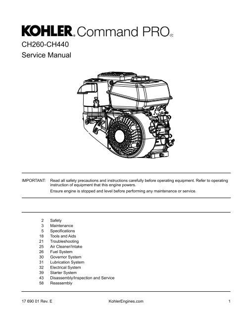 Kohler Ch440 Electric Start Wiring Diagram Ch260 Ch440 Service Manual Kohler Engines