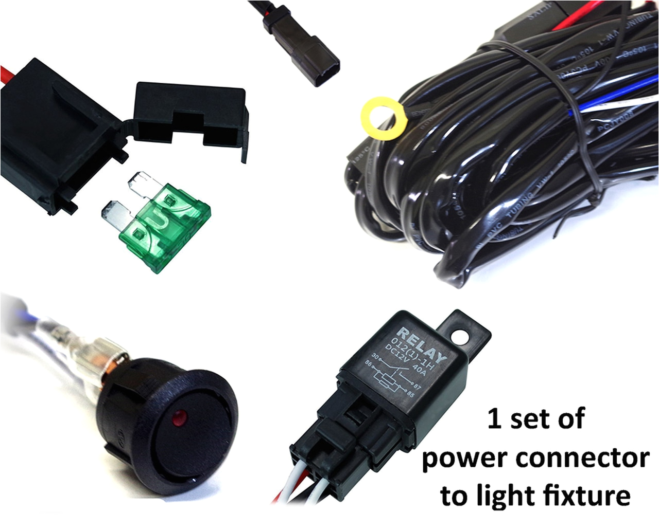 Led Equipped Light Bar Wiring Diagram Xprite Led Light Bar Wiring Harness with 1 Leg 40 Amp Relay On Off Switch