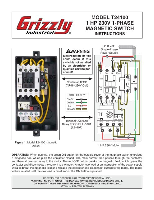 model t24100 1 hp 230v 1 phase magnetic switch grizzlycom jpg