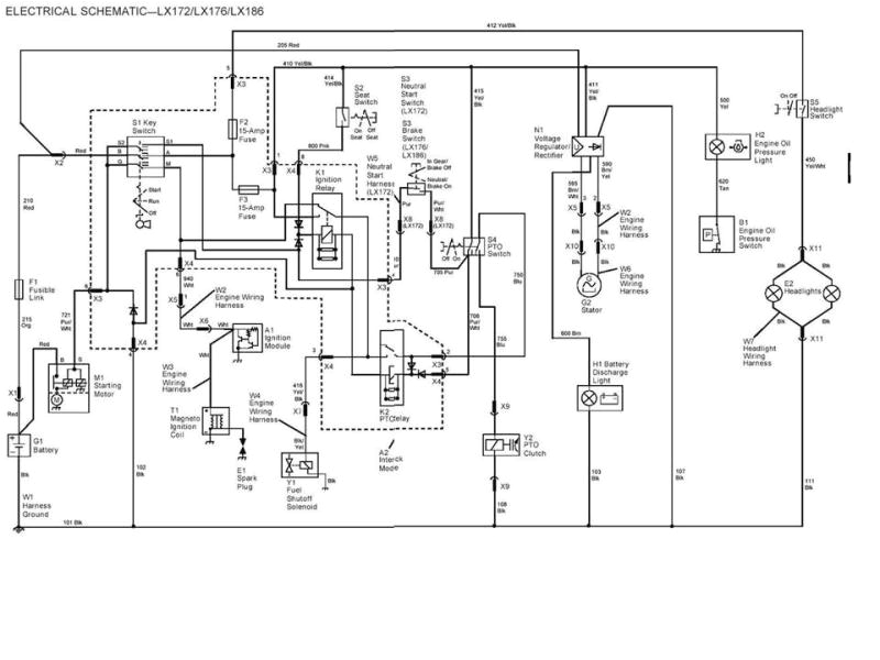 42maz electrical schematic deere lx176 lawn