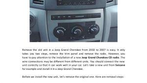 2007 Jeep Grand Cherokee Radio Wiring Diagram Removal and Wiring Diagram for 2002 2007 Jeep Grand