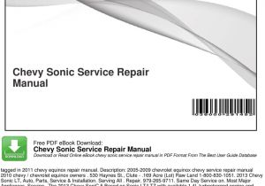 2013 Chevy sonic Ac Wiring Diagram Chevy sonic Service Repair Manual Pdf Free Download