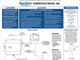 Aprilaire Humidifier Wiring Diagram Aprilaire 500 Specifications Manualzz Com