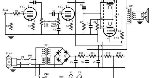 Guitar Amp Wiring Diagram 2w Tube Guitar Amp Schematic