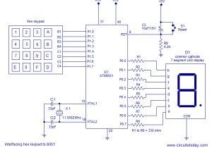 Keyboard Wiring Diagram Interfacing Hex Keypad to 8051 Circuit Diagram and assembly Program