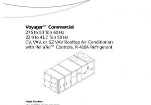 Trane Rooftop Unit Wiring Diagram Trane Voyager Commercial 27 5 to 50 tons Installation and